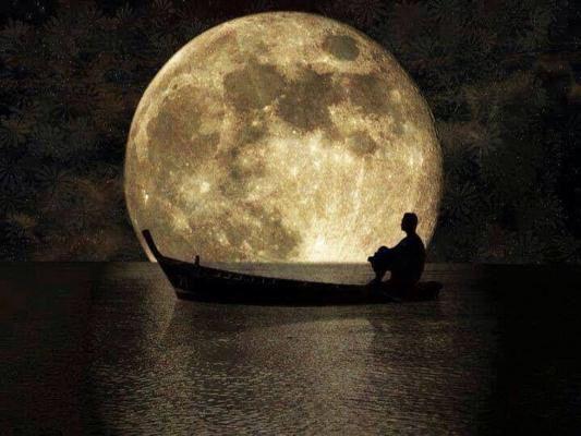 Rowboat moon light